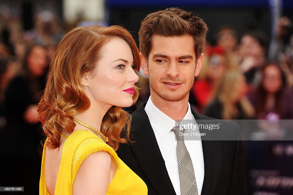 <a gi-track='captionPersonalityLinkClicked' href=/galleries/search?phrase=Emma+Stone&family=editorial&specificpeople=672023 ng-click='$event.stopPropagation()'>Emma Stone</a> and <a gi-track='captionPersonalityLinkClicked' href=/galleries/search?phrase=Andrew+Garfield&family=editorial&specificpeople=4047840 ng-click='$event.stopPropagation()'>Andrew Garfield</a> attend the world premiere of 'The Amazing Spider-Man 2' at The Odeon Leicester Square on April 10, 2014 in London, England.