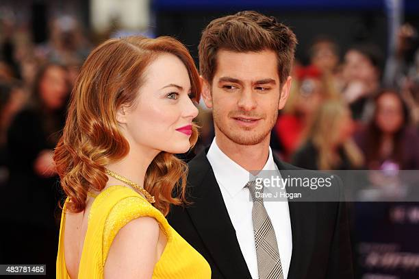 Emma Stone and Andrew Garfield attend the world premiere of 'The Amazing SpiderMan 2' at The Odeon Leicester Square on April 10 2014 in London England