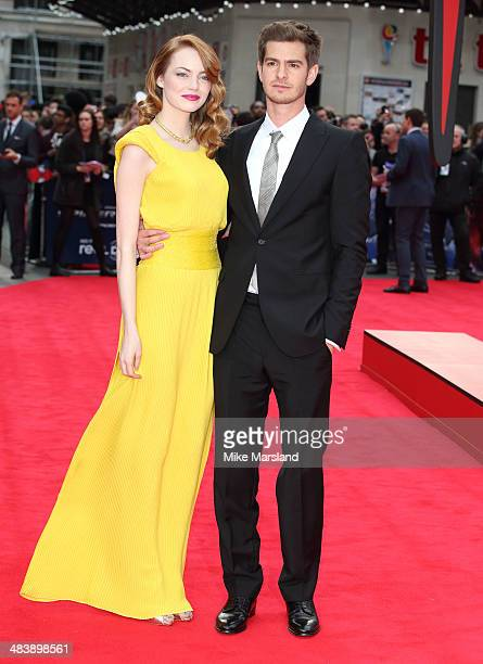 Emma Stone and Andrew Garfield attend the World Premiere of 'The Amazing SpiderMan 2' at Odeon Leicester Square on April 10 2014 in London England