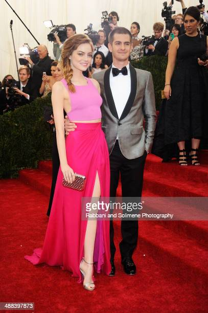 Emma Stone and Andrew Garfield attends the 'Charles James Beyond Fashion' Costume Institute Gala at the Metropolitan Museum of Art on May 5 2014 in...