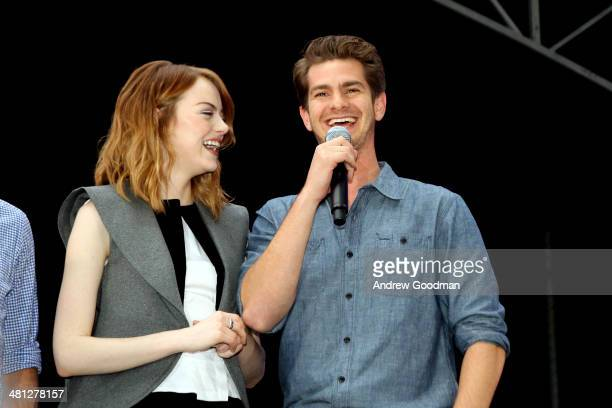 Emma Stone and Andrew Garfield of 'The Amazing SpiderMan 2' attends the Earth Hour KickOff with SpiderMan The First Super Hero Ambassador for Earth...