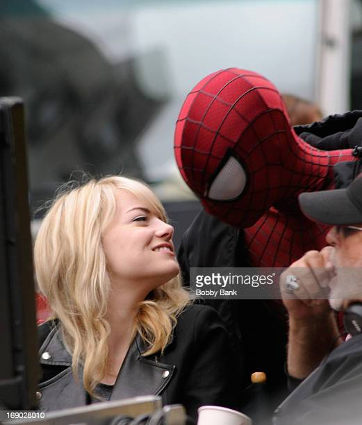 Emma Stone and Andrew Garfield on the set of 'The Amazing SpiderMan 2' on May 18 2013 in New York City