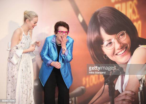 Emma Stone and Billie Jean King attend the American Express Gala European Premiere of 'Battle of the Sexes' during the 61st BFI London Film Festival...
