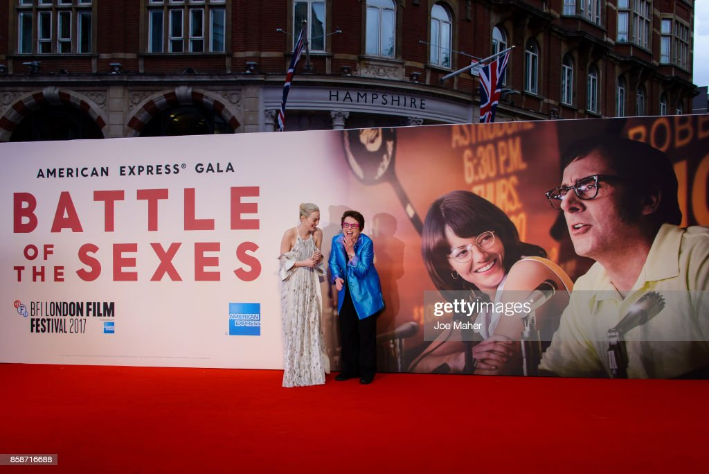 Emma Stone and Billie Jean King attend the 'Battle Of The Sexes' European Premiere during the 61st BFI London Film Festival at Odeon Leicester Square on October 7, 2017 in London, England.