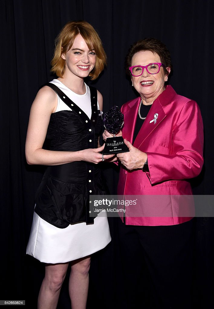 Emma Stone and Billie Jean King pose with Trailblazer Award at the 2016 Logo's Trailblazer Honors at Cathedral of St. John the Divine on June 23, 2016 in New York City. Trailblazer Honors airs Saturday night, June 25th on Logo and VH1.