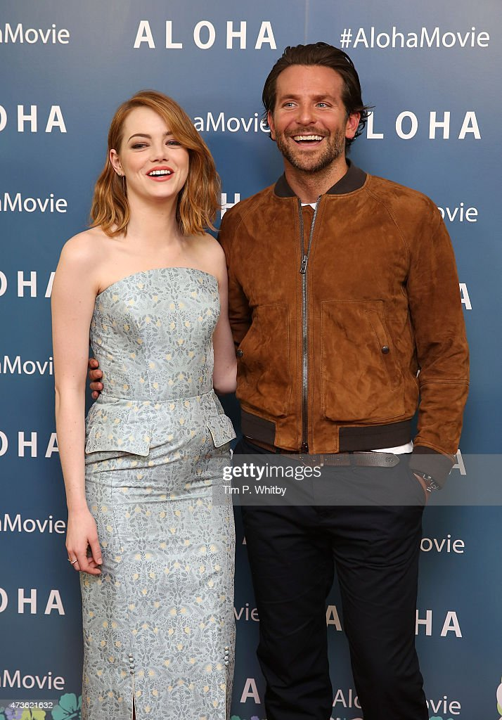 Emma Stone and Bradley Cooper attend a VIP screening of 'Aloha' at Soho Hotel on May 16, 2015 in London, England.
