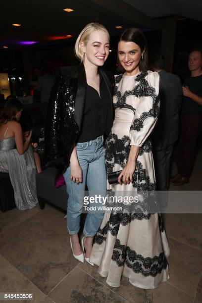 Emma Stone and Rachel Weisz attend Fox Searchlight's Toronto Film Festival Party on September 10 2017 in Toronto Canada