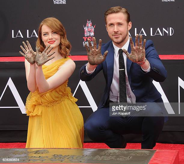 Emma Stone and Ryan Gosling attend at Ryan Gosling And Emma Stone Hand And Footprint Ceremony at TCL Chinese Theatre IMAX on December 7 2016 in...