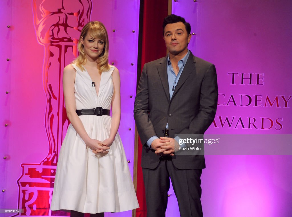 <a gi-track='captionPersonalityLinkClicked' href=/galleries/search?phrase=Emma+Stone&family=editorial&specificpeople=672023 ng-click='$event.stopPropagation()'>Emma Stone</a> and <a gi-track='captionPersonalityLinkClicked' href=/galleries/search?phrase=Seth+MacFarlane&family=editorial&specificpeople=549856 ng-click='$event.stopPropagation()'>Seth MacFarlane</a> announce the nominees at the 85th Academy Awards Nominations Announcement at the AMPAS Samuel Goldwyn Theater on January 10, 2013 in Beverly Hills, California.