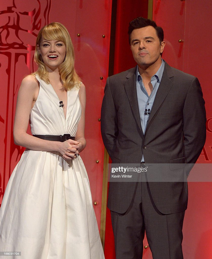 <a gi-track='captionPersonalityLinkClicked' href=/galleries/search?phrase=Emma+Stone&family=editorial&specificpeople=672023 ng-click='$event.stopPropagation()'>Emma Stone</a> and Seth MacFarlane announce the nominees at the 85th Academy Awards Nominations Announcement at the AMPAS Samuel Goldwyn Theater on January 10, 2013 in Beverly Hills, California.