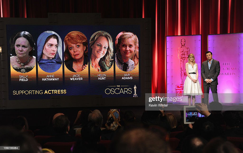 Emma Stone and Seth MacFarlane announce the nominees for Best Supporting Actress at the 85th Academy Awards Nominations Announcement at the AMPAS Samuel Goldwyn Theater on January 10, 2013 in Beverly Hills, California.