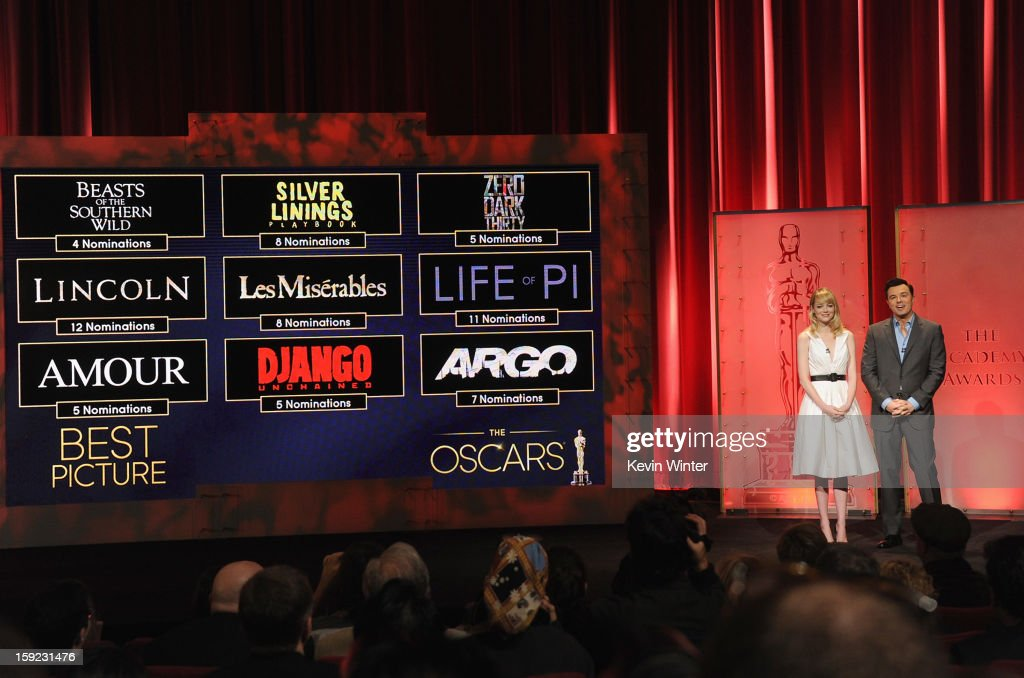 Emma Stone and Seth MacFarlane announce the nominees for Best Picture at the 85th Academy Awards Nominations Announcement at the AMPAS Samuel Goldwyn Theater on January 10, 2013 in Beverly Hills, California.
