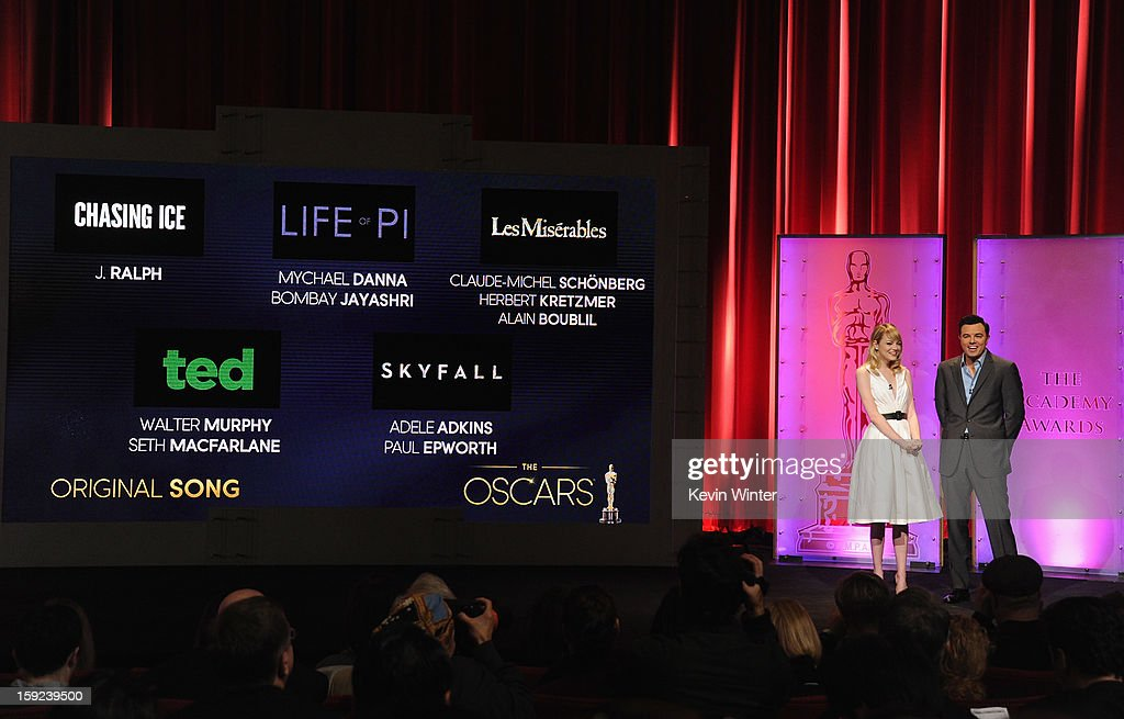 Emma Stone and Seth MacFarlane announce the nominees for Best Original Song at the 85th Academy Awards Nominations Announcement at the AMPAS Samuel Goldwyn Theater on January 10, 2013 in Beverly Hills, California.