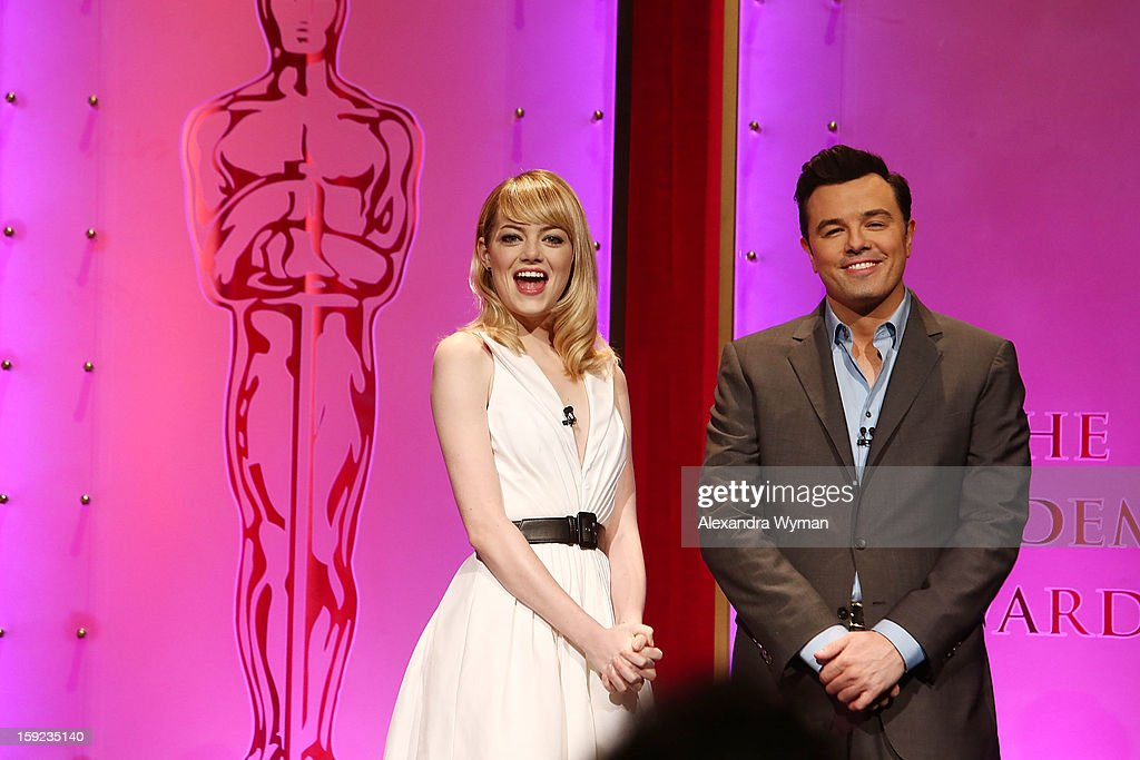<a gi-track='captionPersonalityLinkClicked' href=/galleries/search?phrase=Emma+Stone&family=editorial&specificpeople=672023 ng-click='$event.stopPropagation()'>Emma Stone</a> and <a gi-track='captionPersonalityLinkClicked' href=/galleries/search?phrase=Seth+MacFarlane&family=editorial&specificpeople=549856 ng-click='$event.stopPropagation()'>Seth MacFarlane</a> at The 85th Academy Awards - Nominations Announcement held at The AMPAS Samuel Goldwyn Theater on January 10, 2013 in Beverly Hills, California.