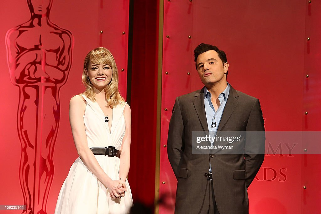 <a gi-track='captionPersonalityLinkClicked' href=/galleries/search?phrase=Emma+Stone&family=editorial&specificpeople=672023 ng-click='$event.stopPropagation()'>Emma Stone</a> and Seth MacFarlane at The 85th Academy Awards - Nominations Announcement held at The AMPAS Samuel Goldwyn Theater on January 10, 2013 in Beverly Hills, California.