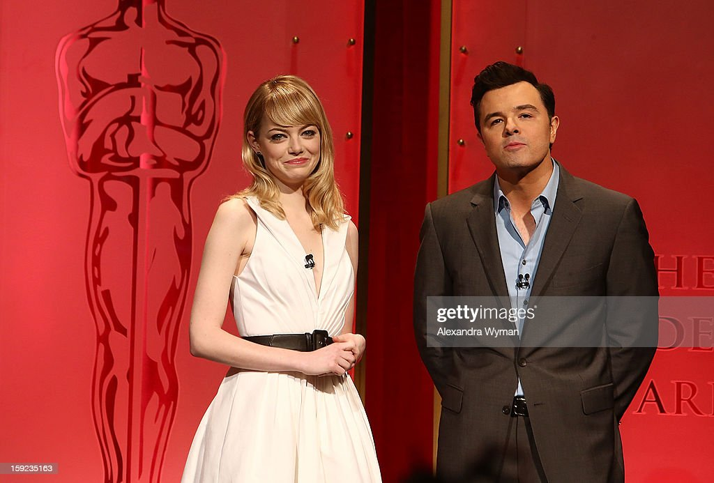 Emma Stone and Seth MacFarlane at The 85th Academy Awards - Nominations Announcement held at The AMPAS Samuel Goldwyn Theater on January 10, 2013 in Beverly Hills, California.