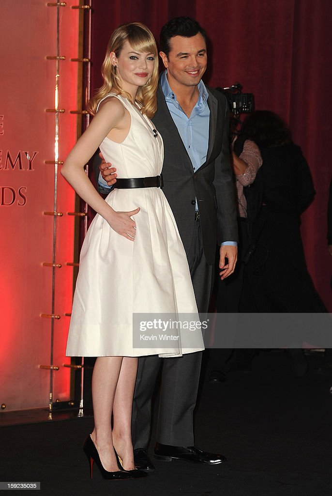 Emma Stone and Seth MacFarlane attend the 85th Academy Awards Nominations Announcement at the AMPAS Samuel Goldwyn Theater on January 10, 2013 in Beverly Hills, California.