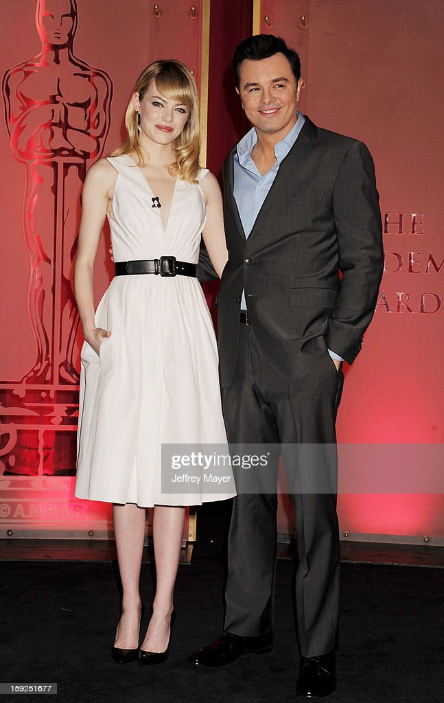 <a gi-track='captionPersonalityLinkClicked' href=/galleries/search?phrase=Emma+Stone&family=editorial&specificpeople=672023 ng-click='$event.stopPropagation()'>Emma Stone</a> (L) and Seth MacFarlane attend the nominations announcement for the 85th Academy Awards held at AMPAS Samuel Goldwyn Theater on January 10, 2013 in Beverly Hills, California.