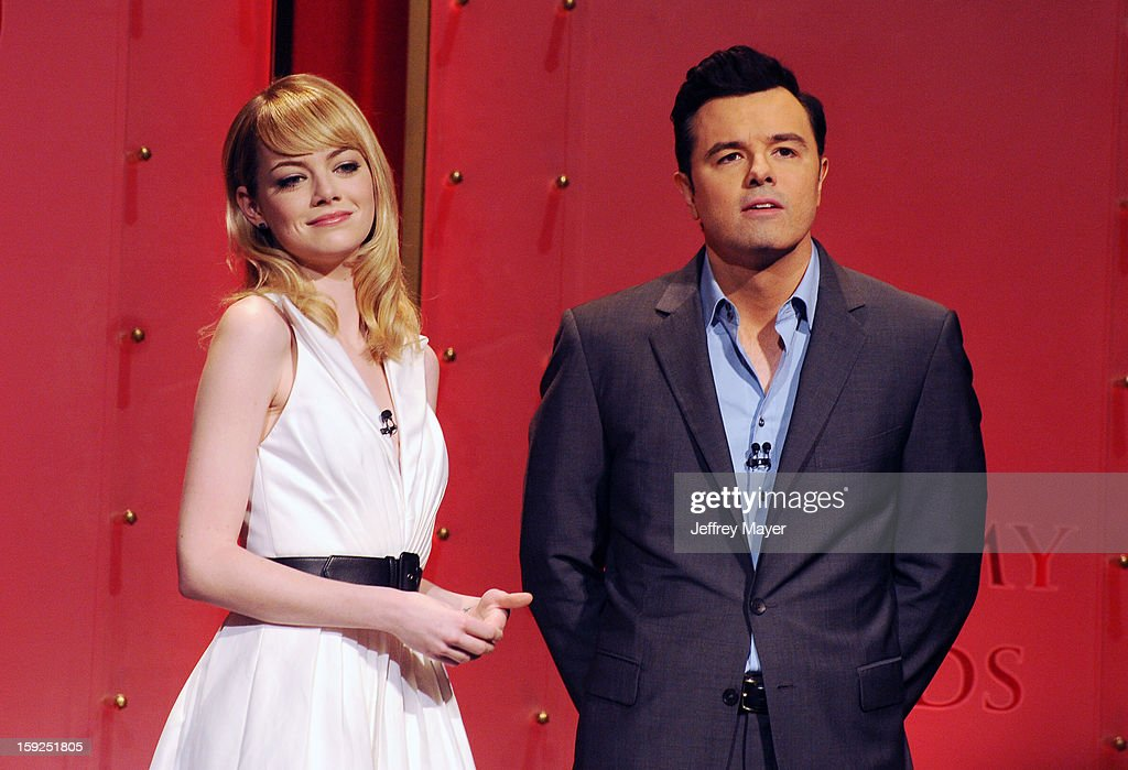 Emma Stone and Seth MacFarlane onstage at The 85th Academy Awards Nominations Announcement held at AMPAS Samuel Goldwyn Theater on January 10, 2013 in Beverly Hills, California.