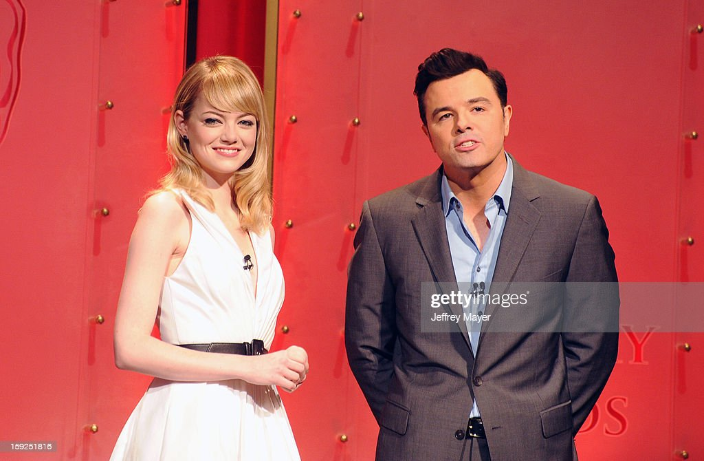 <a gi-track='captionPersonalityLinkClicked' href=/galleries/search?phrase=Emma+Stone&family=editorial&specificpeople=672023 ng-click='$event.stopPropagation()'>Emma Stone</a> and Seth MacFarlane onstage at The 85th Academy Awards Nominations Announcement held at AMPAS Samuel Goldwyn Theater on January 10, 2013 in Beverly Hills, California.