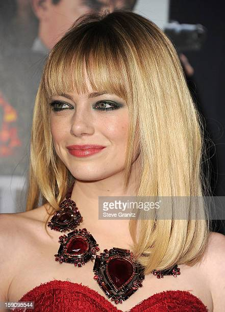 Emma Stone arrives at the 'Gangster Squad' Los Angeles Premiere at Grauman's Chinese Theatre on January 7 2013 in Hollywood California