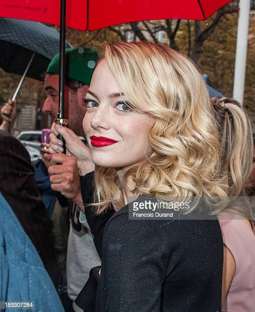 Emma Stone arrives at the Miu Miu Spring/Summer 2013 show as part of Paris Fashion Week on October 3 2012 in Paris France
