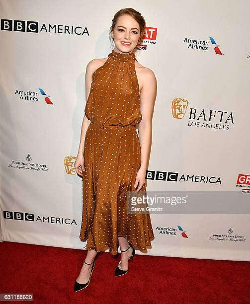 Emma Stone arrives at the The BAFTA Tea Party at Four Seasons Hotel Los Angeles at Beverly Hills on January 7 2017 in Los Angeles California