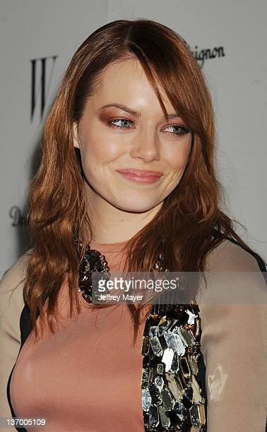 Emma Stone arrives at the W Magazine's celebration of the 69th Annual Golden Globe Awards at the Chateau Marmont Hotel on January 13 2012 in Los...
