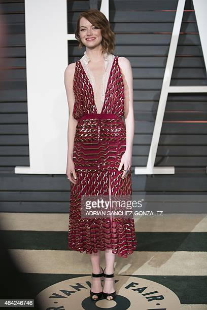 Emma Stone arrives to the 2015 Vanity Fair Oscar Party February 22 2015 in Beverly Hills California GONZALEZ
