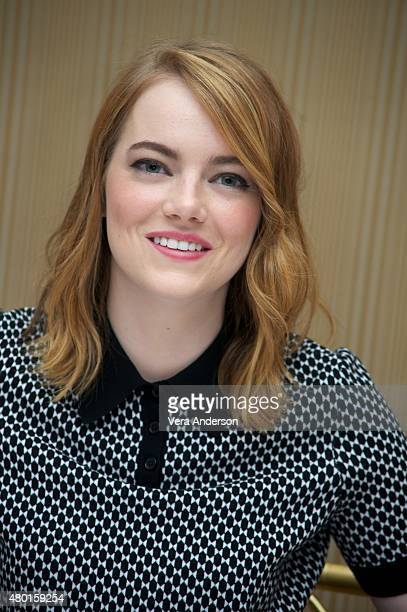 Emma Stone at the 'Irrational Man' Press Conference at the Regent Beverly Wilshire Hotel on July 8 2015 in Beverly Hills California