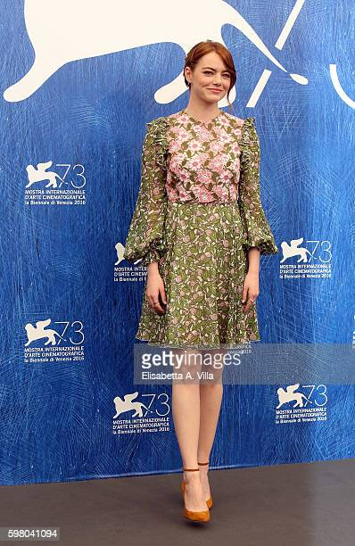 Emma Stone attends a photocall for 'La La Land' during the 73rd Venice Film Festival at Palazzo del Casino on August 31 2016 in Venice Italy