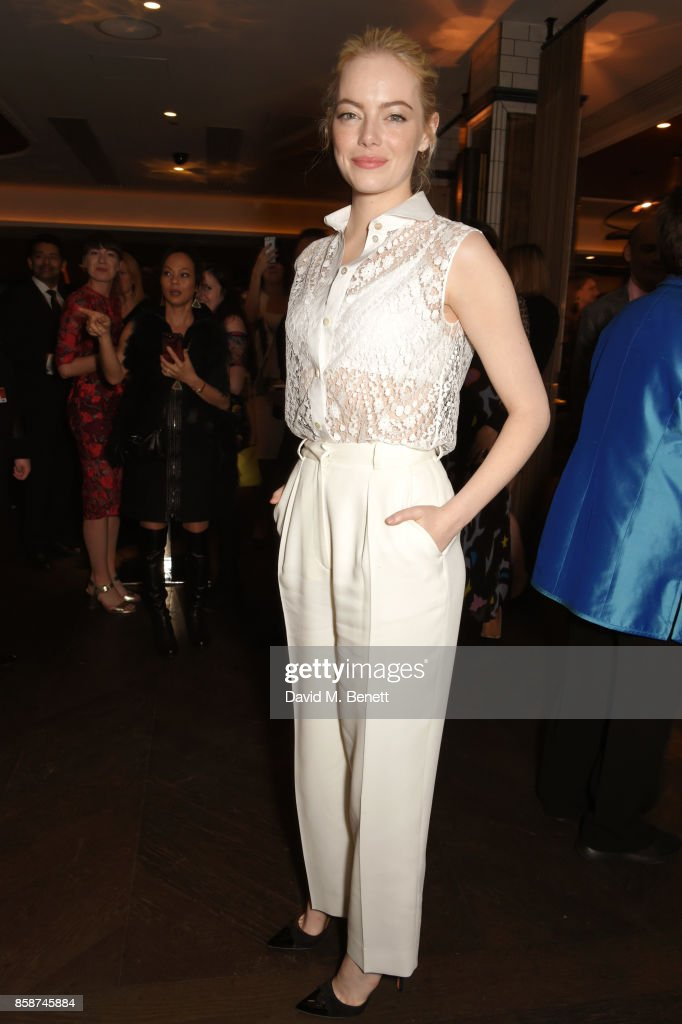 Emma Stone attends the after party for 'Battle of the Sexes' during the 61st BFI London Film Festival at Aqua Nueva on October 7, 2017 in London, England.