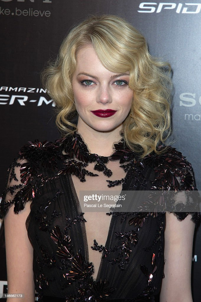Emma Stone attends 'The Amazing Spider Man' Paris Film premiere at Le Grand Rex on June 19, 2012 in Paris, France.