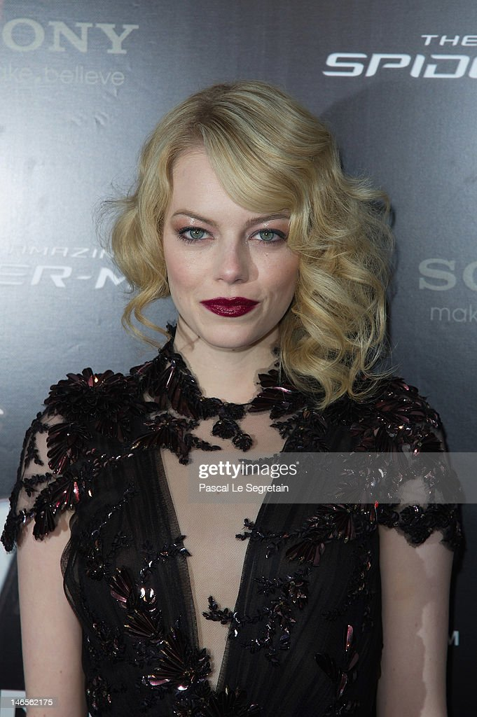 <a gi-track='captionPersonalityLinkClicked' href=/galleries/search?phrase=Emma+Stone&family=editorial&specificpeople=672023 ng-click='$event.stopPropagation()'>Emma Stone</a> attends 'The Amazing Spider Man' Paris Film premiere at Le Grand Rex on June 19, 2012 in Paris, France.