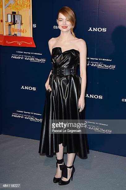 Emma Stone attends 'The Amazing SpiderMan 2' Paris Premiere at Le Grand Rex on April 11 2014 in Paris France