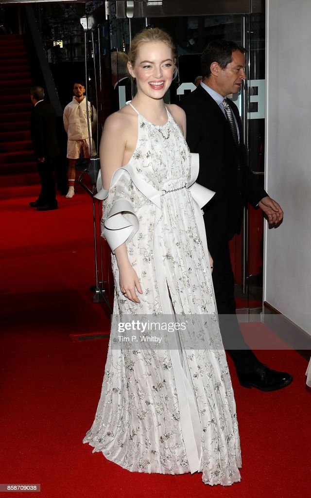 Emma Stone attends the American Express Gala & European Premiere of 'Battle of the Sexes' during the 61st BFI London Film Festival on October 7, 2017 in London, England.
