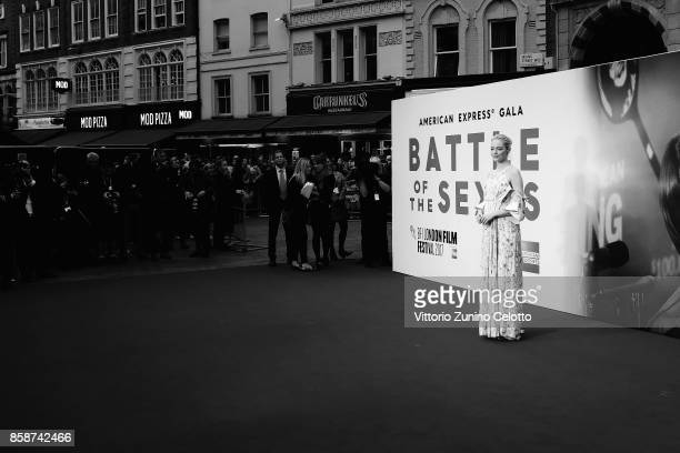 Emma Stone attends the American Express Gala European Premiere of 'Battle of the Sexes' during the 61st BFI London Film Festival on October 7 2017 in...