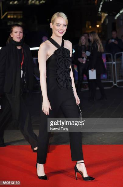 Emma Stone attends the Headline Gala Screening UK Premiere of 'Killing of a Sacred Deer' during the 61st BFI London Film Festival at the Odeon...