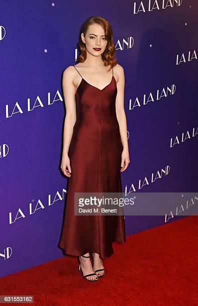Emma Stone attends the 'La La Land' Gala Screening at The Ham Yard Hotel on January 12 2017 in London England