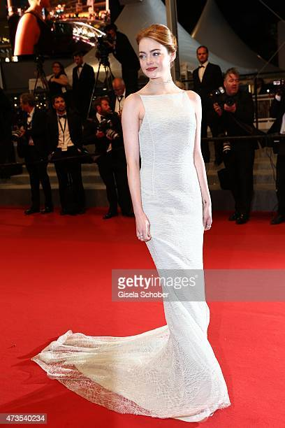 Emma Stone departs the Premiere of 'Irrational Man' during the 68th annual Cannes Film Festival on May 15 2015 in Cannes France