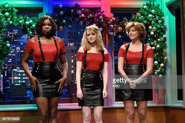 LIVE 'Emma Stone' Episode 1712 Pictured Leslie Jones Emma Stone and Cecily Strong during the 'Cleaning Crew' sketch on December 3 2016