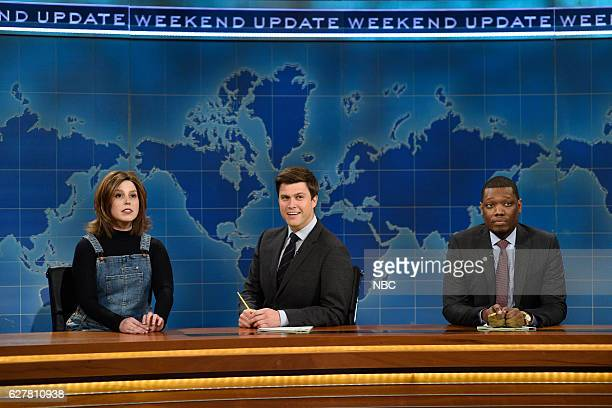 LIVE 'Emma Stone' Episode 1712 Pictured Vanessa Bayer as Rachel from 'Friends' Colin Jost and Michael Che during Weekend Update on December 3 2016