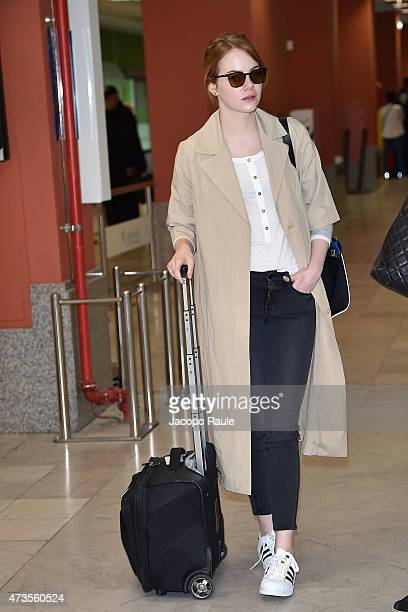 Emma Stone is seen at Nice Airport during the 68th annual Cannes Film Festival on May 16 2015 in Cannes France