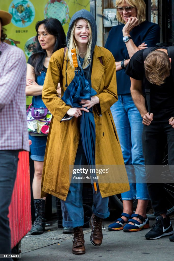 Emma Stone is seen filming 'Maniac' for Netflix on August 14, 2017 in New York City.
