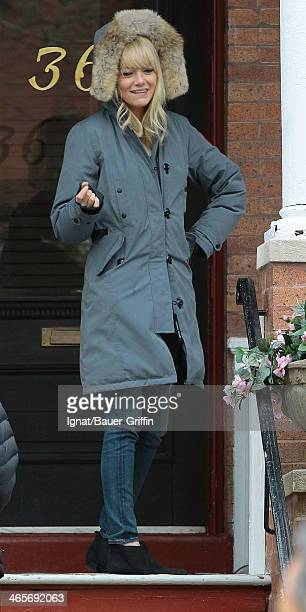 Emma Stone is seen filming 'The Amazing SpiderMan 2' on March 11 2013 in New York City