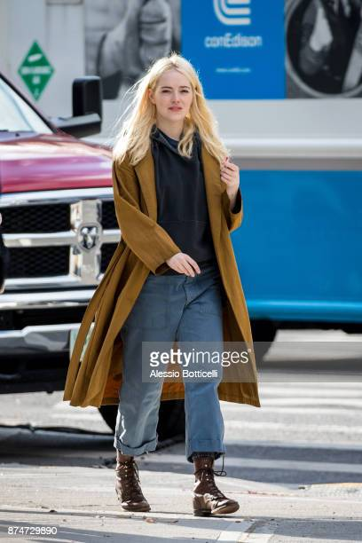 Emma Stone is seen on location in Chinatown filming 'Maniac' on November 15 2017 in New York New York