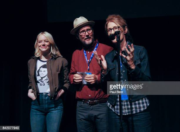 Emma Stone Jonathan Dayton and Valerie Faris attend the Telluride Film Festival 2017 on September 2 2017 in Telluride Colorado