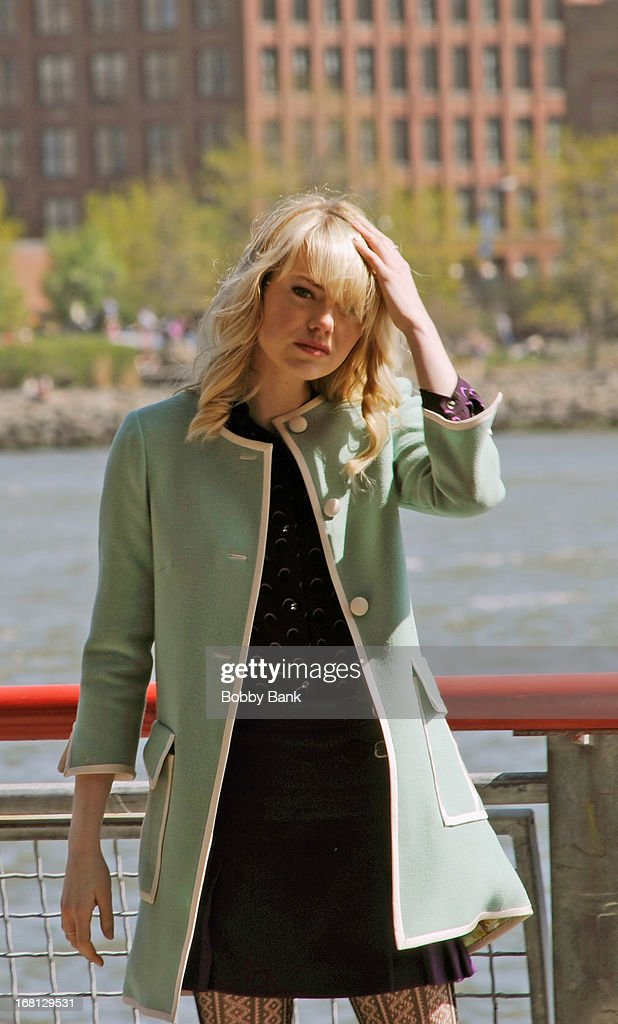 Emma Stone on the set of 'Amazing Spiderman 2' on May 5, 2013 in New York City.
