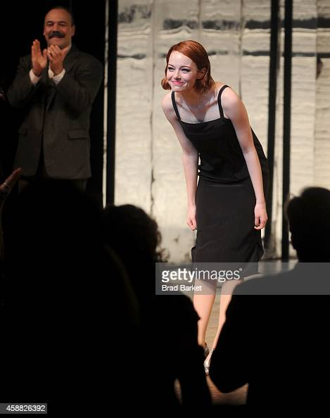 Emma Stone onstage during her debut performance in Broadway's 'Cabaret' at Roundabout Theatre Company's Studio 54 on November 11 2014 in New York City