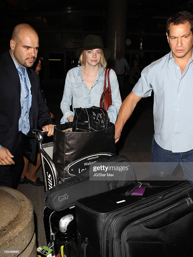 <a gi-track='captionPersonalityLinkClicked' href=/galleries/search?phrase=Emma+Stone&family=editorial&specificpeople=672023 ng-click='$event.stopPropagation()'>Emma Stone</a> sighting at Los Angeles International Airport on October 5, 2012 in Los Angeles, California.